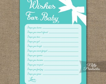 Wishes For Baby Game - Turquoise Baby Shower Game - Turquoise Baby Wishes Cards - Aqua Hopes For Baby - Printable Instant Download - TFB