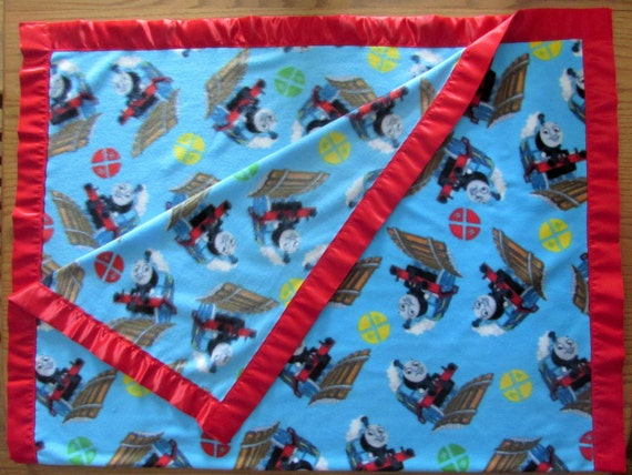 Thomas the Train fleece toddler blanket with satin edge