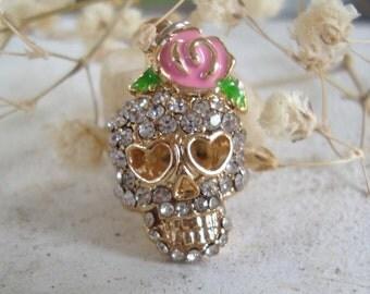 2 Skull charms,Skull rose charms,Girl skull charms,