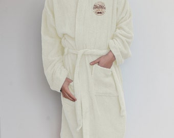 Embroidered Bathrobe 'Dr Dapper's Moustache Wax' Embroidery