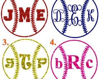 Softball Glitter monogram heat transfer, baseball glitter monogram iron on