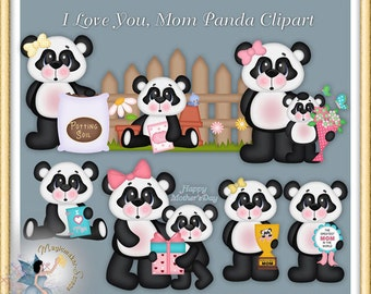 Mother's Day Clipart, Panda Mom and Kid