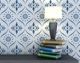 Wall Pattern Trellis Allover Stencil Bailey for Wallpaper Look