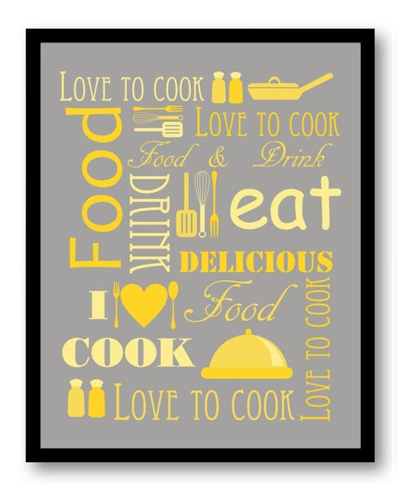 Love To Cook Kitchen Wall Decor Grey Gray Yellow Print Printable Home Decor Instant Download Art
