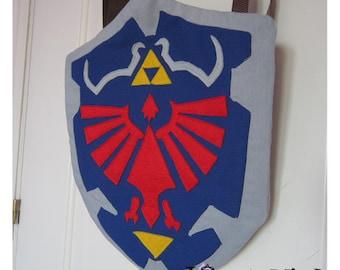 Legend of Zelda backpack. Hylian shield. Videogames backpack.
