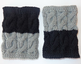 Knitted Boot Cuffs Reversible 2 in 1 Light Grey And Black- Boot Socks Boot Topper Leg Warmer Or Choose Your Color