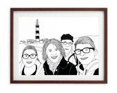 Custom Portrait, 4 people + landscape, digital drawing, unique gift for birthday, wedding… ! Black & White + Pink Cheeks