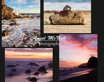 Photo greeting cards, Set of four, Beach photography, Sunset, Southern California, Ocean,  5x7 blank, printed, fine art photography card set