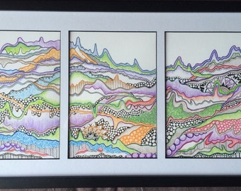 Mountain tryptic framed drawing