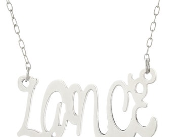 Dance Font 925 Sterling Silver Personalized Any Name Plate Pendant Necklace - Nameplate Necklace