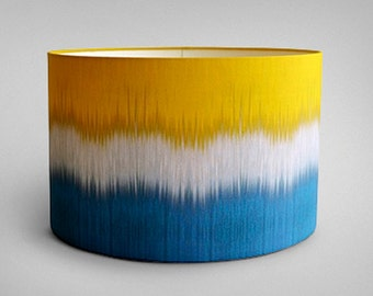 Ikat Drum Lampshade - Teal Yellow - By Ptolemy Mann