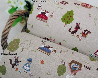 Cotton Linen Fabric Super Cute Little Red Riding Hood In 2 Colors By The Yard