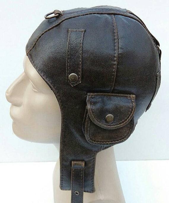 WWII Vintage Style Handmade Genuine Leather Pilot Aviator
