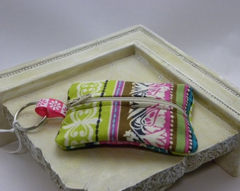 Multi Colored Fabric Keychain Zipper Pouch