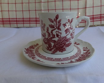 MOVINGSALE 35% OFF Set of 7 Meakin India Pattern in Red Transferware Cups and Saucers.  Made in England.