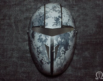 Military faceless mask with digital camouflage - matt
