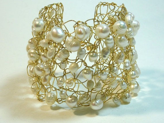Handmade wire crochet cuff bracelet with pearls, crystal or glass beads of various size and shape - various options