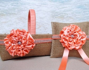 Burlap Bling Basket & Pillow - Country Chic Rustic - Beach - Wedding Flowergirl Ringbearer  Rhinestone Coral Peach
