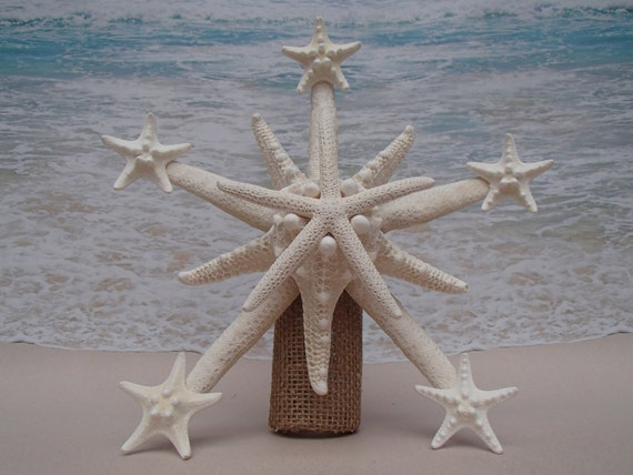 SALEStarfish Tree Topper Natural Gold Or Silver Glitter