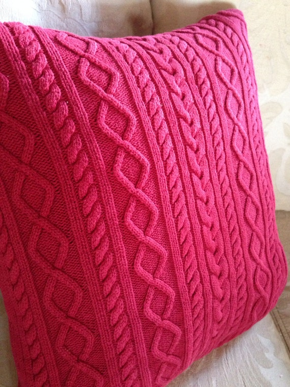 Cable Knit Pillow Pattern : Sweater pillow Red Cable knit Christmas sweater by MorningTeaRose