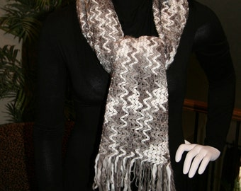 Long Gray Winter White Chevron Weave Fringed Scarf