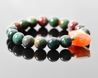 Bloodstone Bracelet, March Birthstone, Heliotrope Bracelet, Dark Green Stretch Bracelet, Carnelian Bracelet
