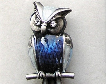 Blue Wise OWL BROOCH with a PIN Bijoux Enamel Owls Animal Bird Nature Barn Owl