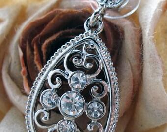 Vintage Silver Tear Earrings Silver Tone Sparkling Crystals Wedding Drop Earrings Silk Road Jewelry