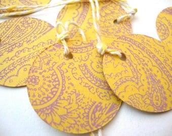 Paisley Parcel Tags: Pink and Yellow Paisley set of 10 screen printed circle tags