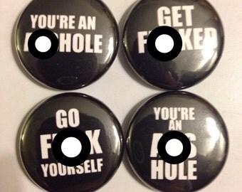 Vulgar Insults | Pinback Buttons | Set of 3