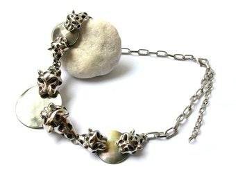 Natural pearl necklace tiger riveting ROAR