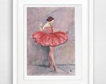 ballet art, ballerina print, pink grey wall art, gift for older girl, ballet dancer, ballerina dancer, nursery ballerina, ballerina wall art