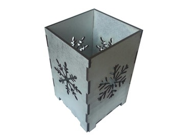 Snowflake Holiday Candle Holder, Silver, Laser Cut
