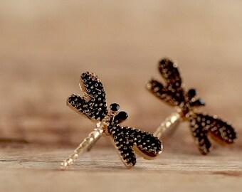 Bronze Studs * dragonflies * e096b