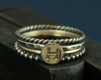 Initial Ring Stacking Set - Solid Gold Monogram Ring - Silver Twist, Hammered, Bubble Bands,14K Gold Initial Band - Stamped with Initial
