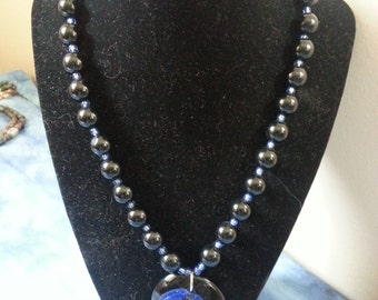 Black Agate and Glass Beaded Necklace