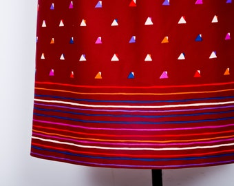 Abstract Geometry Skirt / Cranberry Stripes and Triangles Skirt