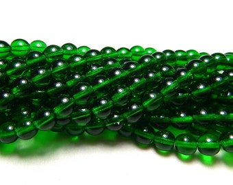 6mm Emerald Czech Beads, Green Beads, Emerald Beads, Transparent Beads, 6mm Round Beads, 6mm Glass Beads, 6mm Czech Beads T-14A