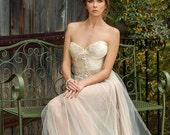 Boho Chic Open Back Corset With Handmade Detailed Lace Wedding Dress