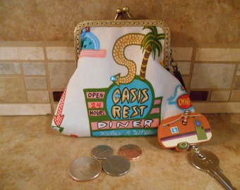 Fabric Coin Purse with Retro Diner Print & Kiss Clasp