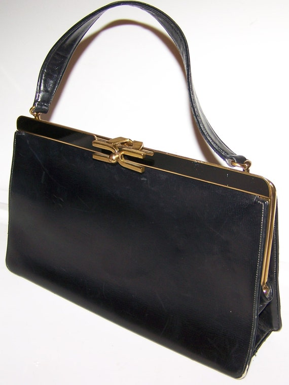 Vintage Black Leather Rosenfeld Handbag, Art Deco Clasp, Top handle, Makeup Mirror, Multiple Compartments, Elegant purse