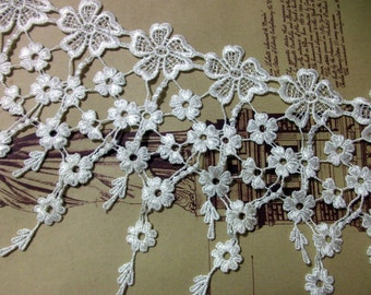 18.5cm white lace trim for DIY sewing,wedding macrame lace trim