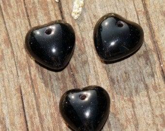 Opaque Black Heart Beads Glass Heart Beads Black Valentine Beads Black Valentines Beads Czech Glass Bohemian Halloween Beads 9mm 14pc