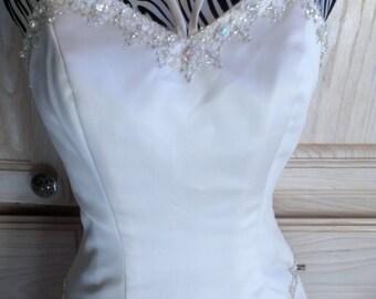 Ivory  Strapless  Wedding Dress/ Long Elegant Prom Dress/ Long Strapless Evening Dress  Small