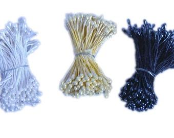 Stamens, 144 Floral stamens, Black stamens, Yellow stamens, White stamens, Pearl stamen, Craft supplies, Floral supplies, Wedding supplies