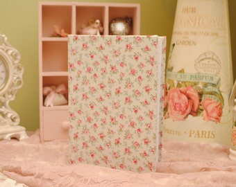 Beautiful handmade light pink/green floral fabric covered qualilty A5 notebook. shabby chic/vintage/gift