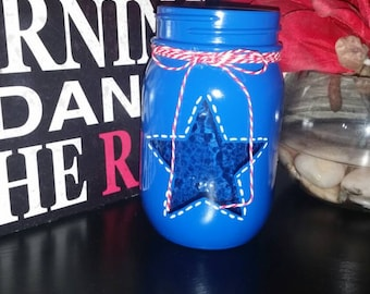 Blue mason jar, red white and blue jar, star jar, patriotic, candle holder