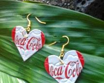 heart earrings,drop earrings,fashion ,Gifts Mom,Soda Can Earrings,coca cola earrings,Christmas earrings, holiday jewelry gifts  women, drop