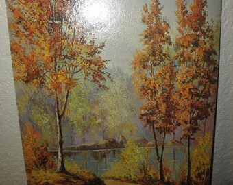 """Werner Litho Print """"Autumn Scene"""" Museum Edition 1970's"""