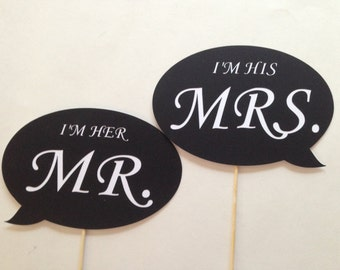 I'm Her Mr. and I'm His Mrs. Photobooth Props Holiday Photo Booth Props Set of 2